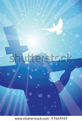 rays christ on cross with dove - stock vector