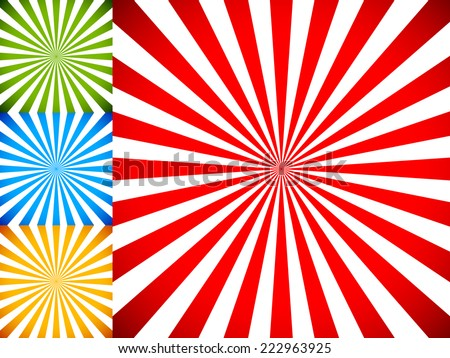 Rays or starburst backgrounds. - stock vector
