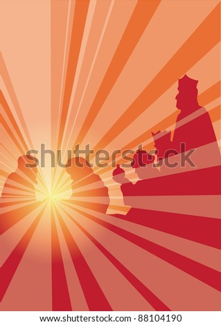 rays with kings - stock vector