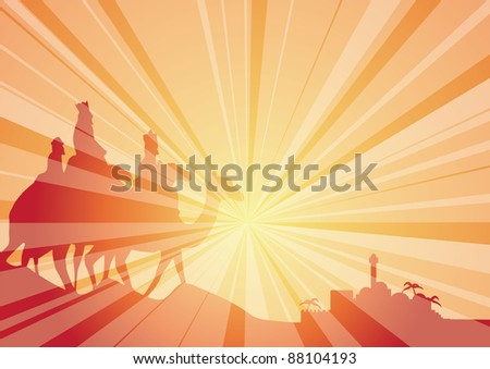 rays with wisemen on camels - stock vector