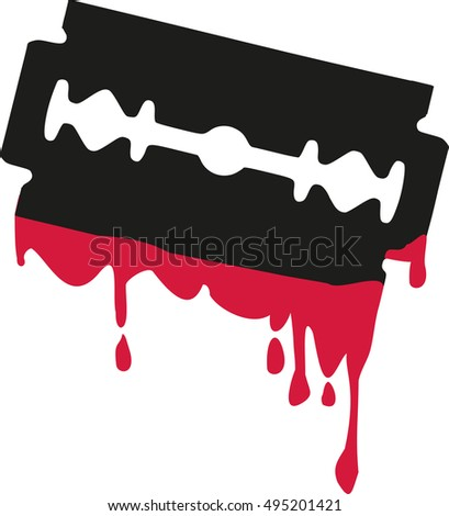 Razor blade with blood