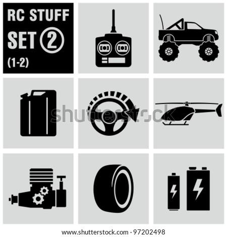 RC - vector black icon set 2. Remote control toys. - stock vector