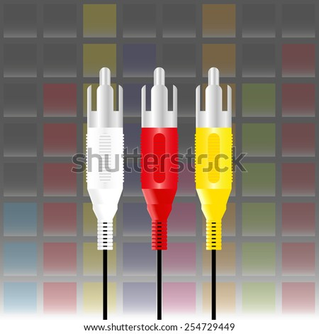 rca connectors with equaliser music background - stock vector