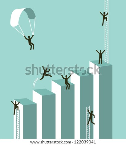 Reaching business success concept illustration. Vector layered for easy manipulation and custom coloring. - stock vector