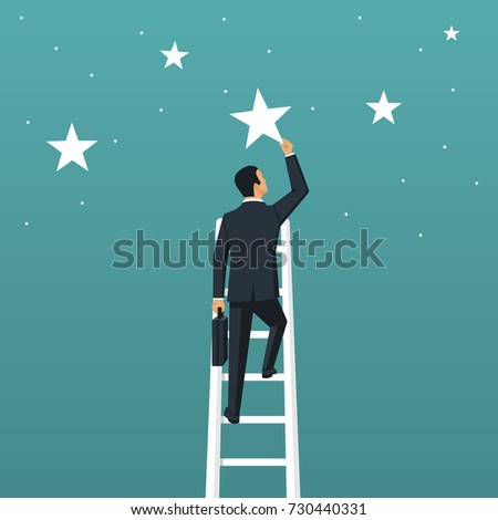 Reaching goal. Get star. Businessman climbed high up stairs. Human holds big star isolated in background night sky. Concept of reward, victory. Vector illustration flat design. Successful achievement