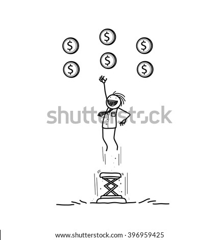 Reaching Your Goals, a hand drawn vector doodle illustration of a businessman jumping high using a portable trampoline to get the money up in the air. - stock vector