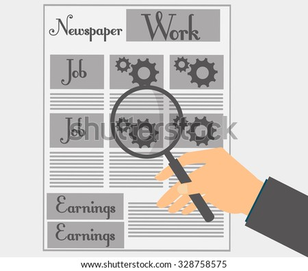Read a newspaper through a magnifying glass. View news and job offers. Vector illustration. - stock vector
