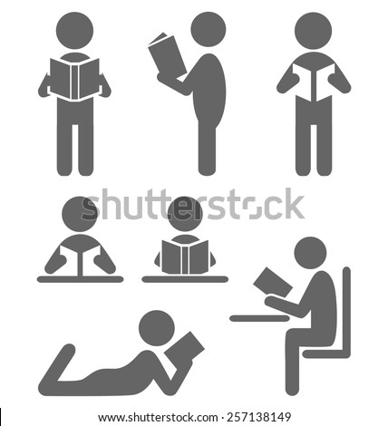 Read book people flat icons isolated on white background - stock vector