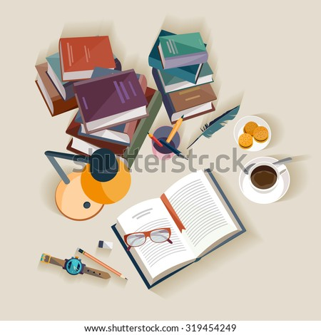 Reading books. Flat design. - stock vector