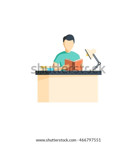 Reading books flat style concept with man. Vector illustration. Man Reading book on the table