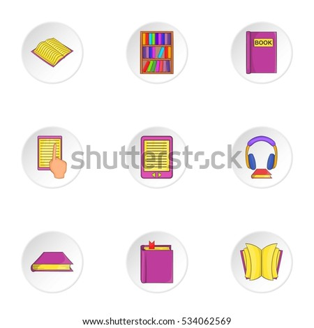 Reading books icons set. Cartoon illustration of 9 reading books vector icons for web
