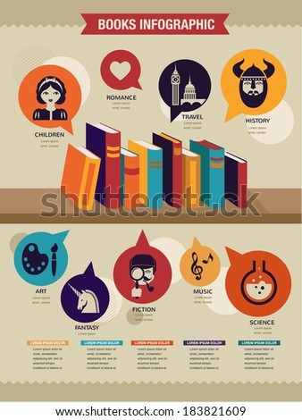 Reading books infographics, set of flat subject icons and book shelf  - stock vector