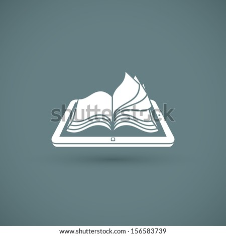 Reading books on PC tablet - vector illustration - stock vector