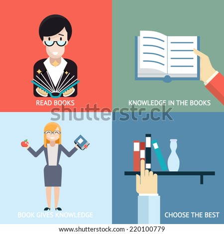 Reading Books Signs and Symbols Icons Hands Characters Template on Stylish Background Modern Flat Design Vector Illustration - stock vector