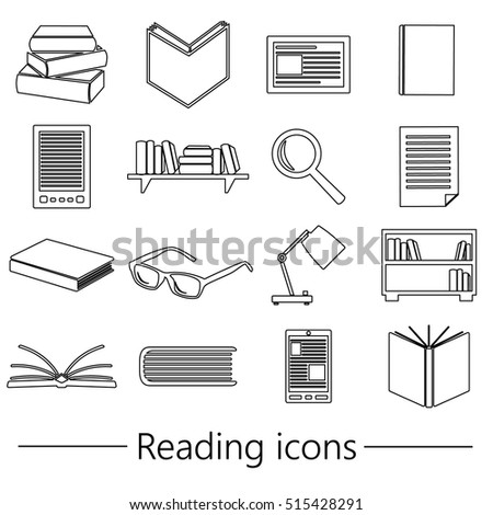 reading books theme set of simple black outline icons eps10
