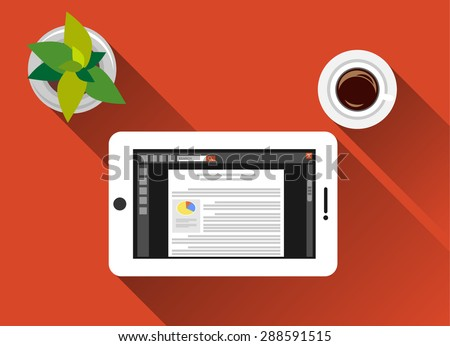 Reading concept with media device illustration. Reading with smart phone concept illustration. flat design with long shadow.  - stock vector