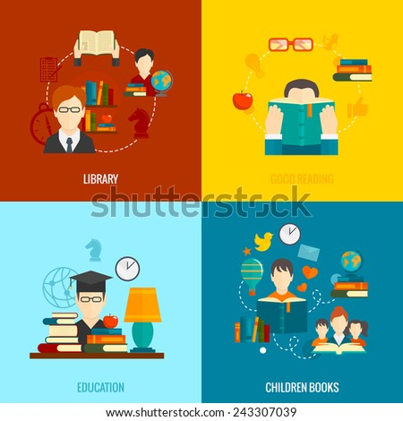 Reading flat icons set with library good education children books isolated vector illustration - stock vector