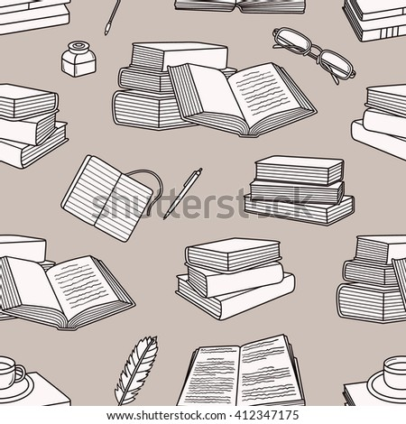 Reading icon set hand drawn vector. Big collection sketch objects. Doodle illustration library. Colorful seamless pattern - stock vector