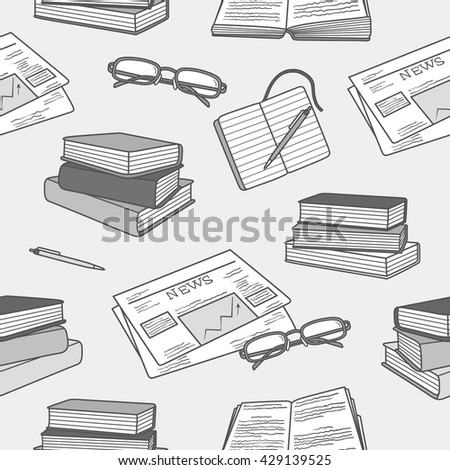 Reading icon set hand drawn vector. Big collection sketch objects. Doodle illustration library. Black and white seamless pattern - stock vector