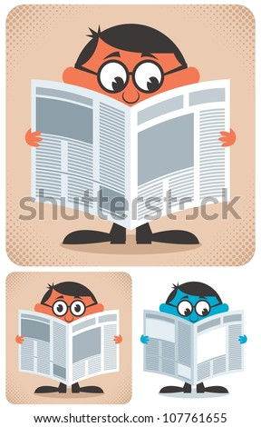 Reading Newspaper: Man reading newspaper. No transparency and gradients used. - stock vector