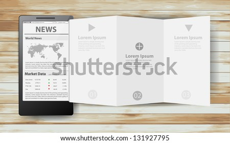 Reading newspaper with smart phone, Creative folded paper modern template design vector illustration - stock vector