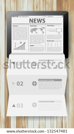 Reading newspaper with tablet computer, Creative folded paper modern template design vector illustration - stock vector