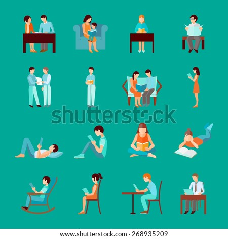 Reading people laying sitting and standing figures set isolated vector illustration - stock vector