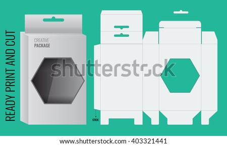 Ready Box design with Shelf Hanging Holes and Die cut Layout. Blueprint design. Illustrated vector. Ready print and cut.  Box with polygon window - stock vector