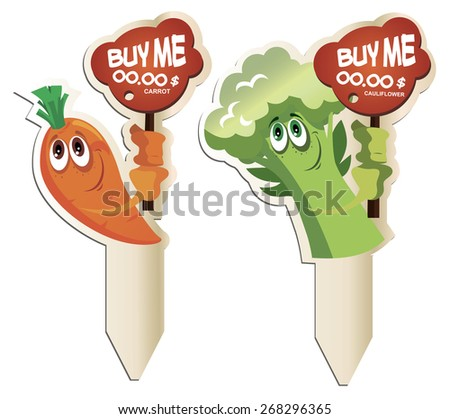 """ready marketing solution for supermarkets buy vegetables!"""" no one passes! - stock vector"""