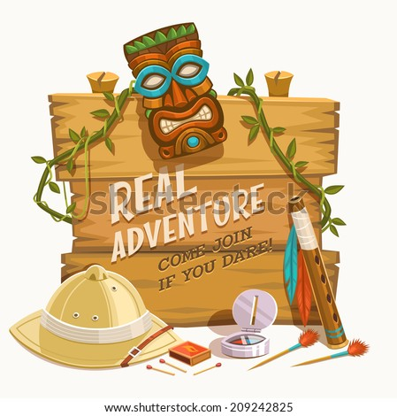 Real Adventure. Vector illustration. - stock vector