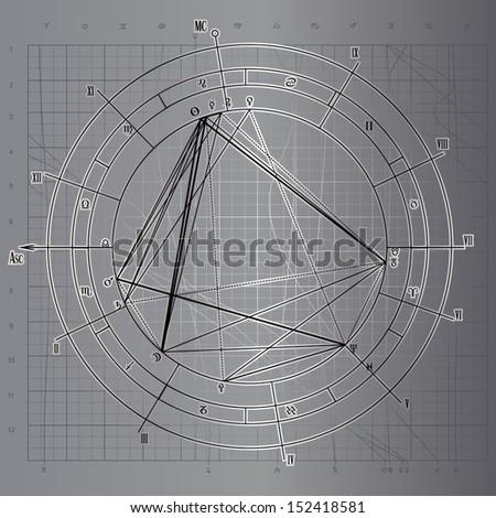 Real astrological natal chart, vector illustration - stock vector