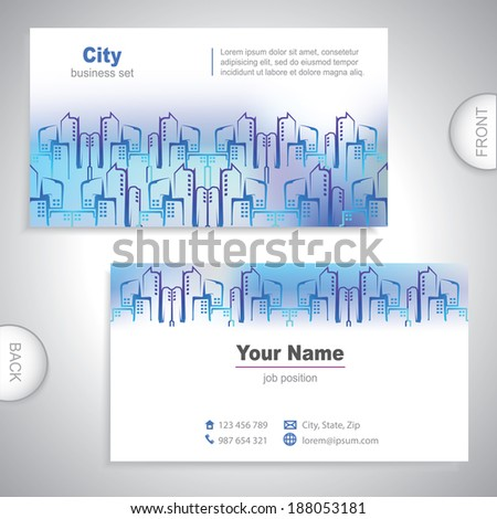 Real estate agency - calling card - Universal business card - urban construction - set template - information card - Vector Illustration - Business stationery - stock vector