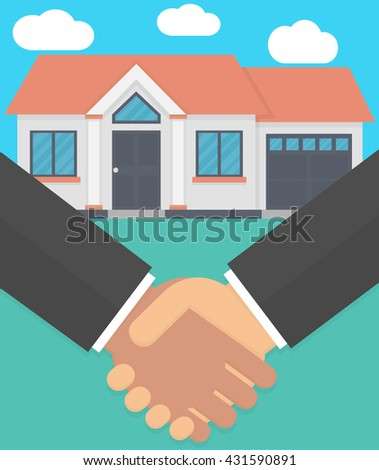 Real estate agent and customer making a deal concept. Handshake with a house in the background. Flat design - stock vector