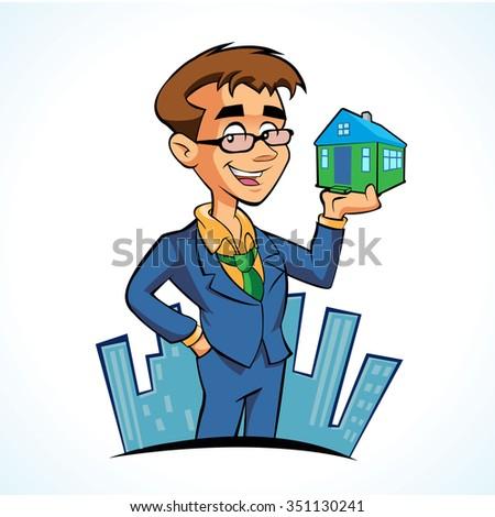Real estate agent cartoon - stock vector