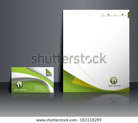Real Estate Agent Corporate Identity Template - stock vector
