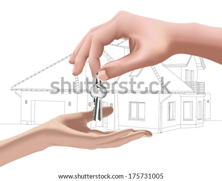 Real estate agent giving away the keys - stock vector