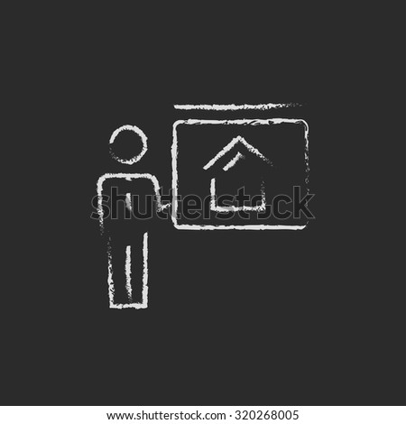 Real estate agent showing the house hand drawn in chalk on a blackboard vector white icon isolated on a black background. - stock vector
