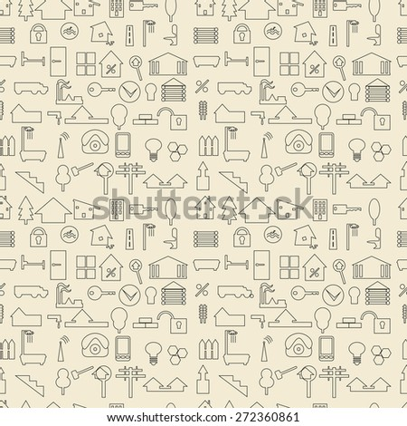 Real estate and construction items linear set seamless texture.   Editable vector illustration. Perfect as wrapping paper design template. - stock vector