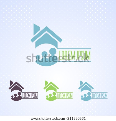 Real Estate and Family Vector Icons, Logos, Sign, Symbol Template  - stock vector