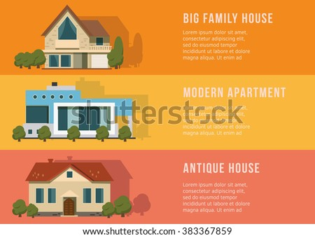 Real estate and home banners on the color background. Flat Design. - stock vector