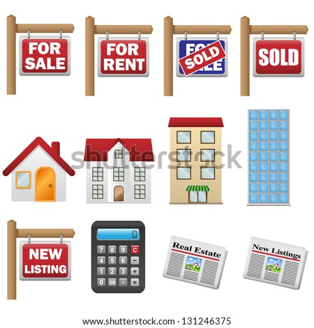 Real estate and property icons - stock vector