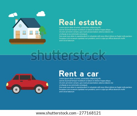 Real estate and Rent a car design banner  concept - stock vector