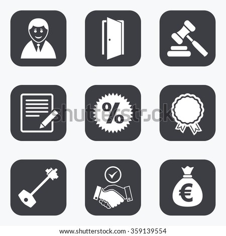Real Estate Auction Icons Home Key Stock Vector 359139554 Shutterstock