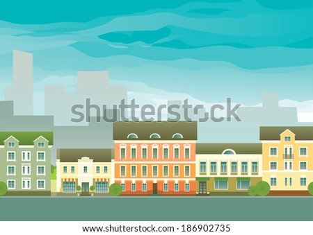 Real estate background. Vector of houses on town street different architectural styles  - stock vector