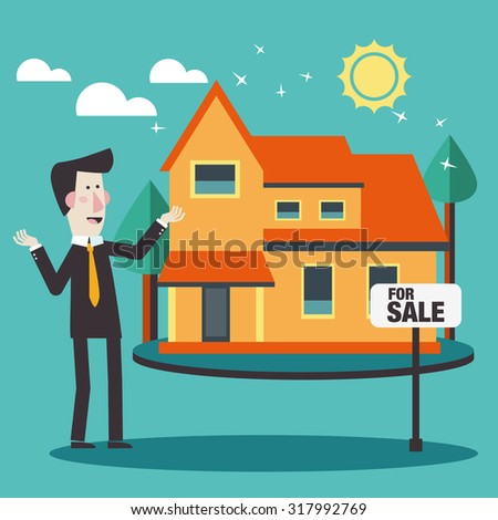 Real estate broker agent presenting beautiful house for sale.  Investing money and financial planning vector concept. Insurance, mortgages, credit card, and banking service. Modern flat design - stock vector