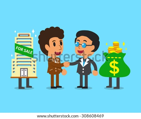 Real estate broker agent shaking hands businessman - stock vector
