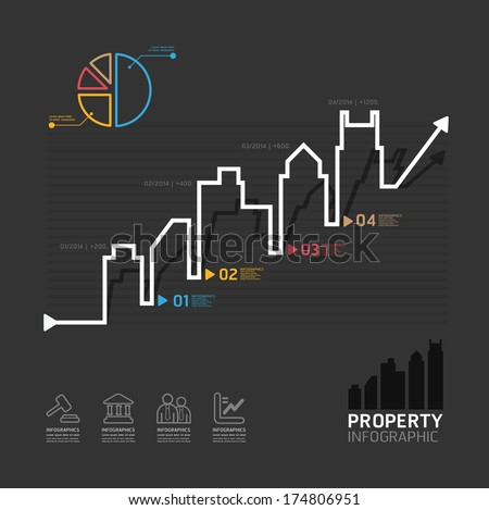 real estate business diagram line style  template for infographics vector - stock vector