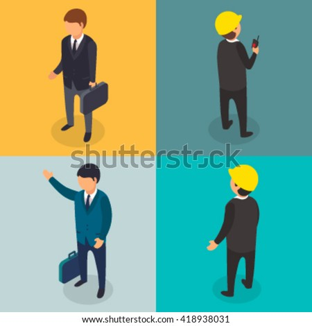 Real estate business flat 3d isometric style vector illustration - stock vector