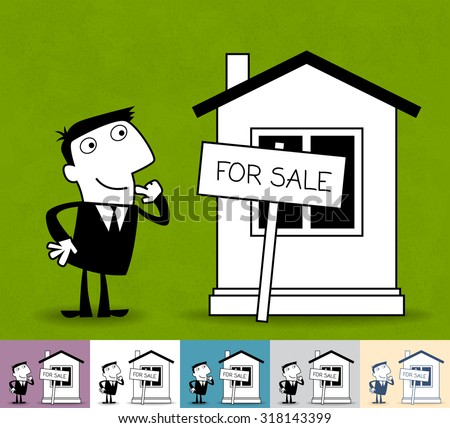 Real estate. Business illustration (EPS 10). Animation friendly: the elements ( arms, heads etc) are in the separate layers. Pattern on the background (color can be changed) - stock vector