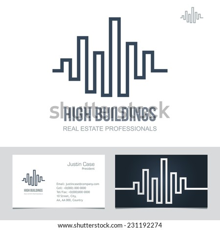 Real estate business sign business card stock vector 231192274 real estate business sign business card vector template for architecture bureau insurance brokerage reheart Images